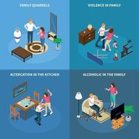 Family Problems Isometric Design Concept Vector Illustration