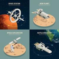 Space Ship 2x2 Design Concept Vector Illustration