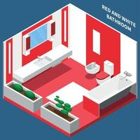 Bath Room Interior Isometric Composition Vector Illustration