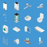 Sanitary Engineering Isometric Icons Vector Illustration