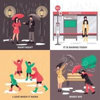 Bad Weather Concept Icons Set Vector Illustration