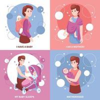 Motherhood Sleeping Babies Concept Vector Illustration