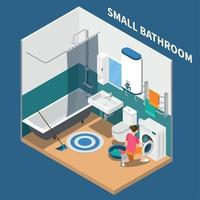 Small Bath Room Isometric Composition Vector Illustration