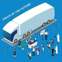 Electric Truck Presentation Isometric Composition Vector Illustration