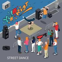 Ilustración de vector de composición isométrica de baile callejero