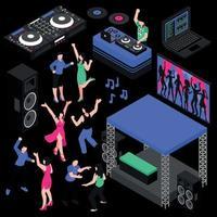 Dj And Music Set Vector Illustration