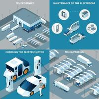 Electric Vehicles Isometric Design Concept Vector Illustration