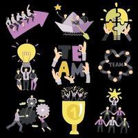 Teamwork Symbols Set Vector Illustration