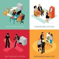 Bank People Isometric Concept Vector Illustration