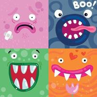 Funny Monsters Faces Concept Vector Illustration