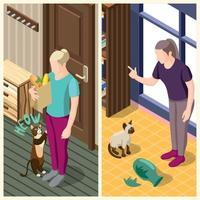 Cat Ordinary Life Isometric Banners Vector Illustration