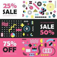 Memphis Design Elements Banners Vector Illustration