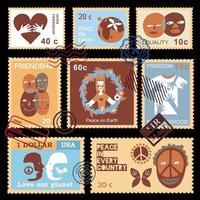 International Friendship Symbols Stamps Vector Illustration