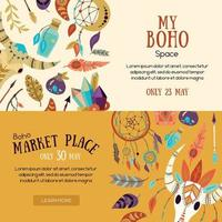 Boho Market Banners Vector Illustration