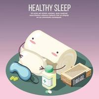 Healthy Sleep Isometric Composition Vector Illustration