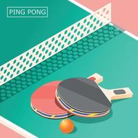 Ping Pong Isometric Background Vector Illustration