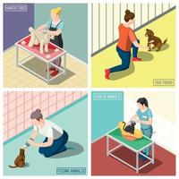 Animals Volunteers Isometric Design Concept Vector Illustration