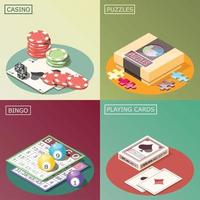 Board Games Isometric Design Concept Vector Illustration