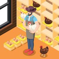 Chicken Coop Isometric Background Vector Illustration