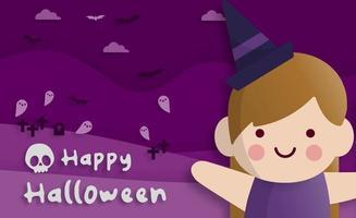 Happy Halloween party in paper art style vector