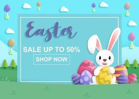 Easter day on sale in paper art style with rabbit and easter eggs vector