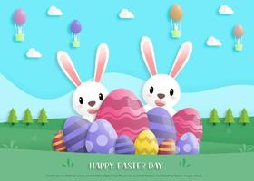 Happy easter day in paper art style with rabbit and easter eggs vector