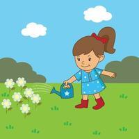 Girl is watering the flowers vector