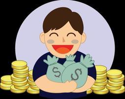 holding money  bag vector