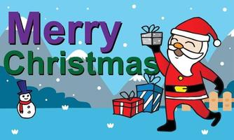 Christmas card with Santa Claus deer and snowman vector