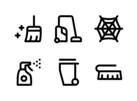 Simple Set of Cleaning Related Vector Line Icons