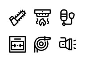 Simple Set of Firefighter Related Vector Line Icons