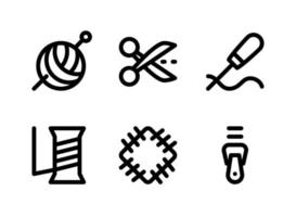conjunto simple de iconos de líneas vectoriales relacionadas con la costura vector