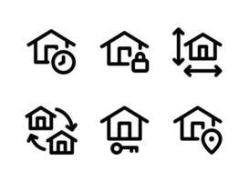 conjunto simple de iconos de línea de vector de bienes raíces