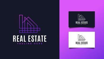 logotipo de bienes raíces en degradado colorido con estilo de línea vector