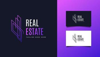 Real Estate Logo in Colorful Gradient with Line Style vector