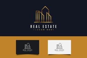 Real Estate Logo in Gold Gradient with Line Style vector