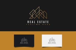 logotipo de bienes raíces en degradado dorado con estilo de línea vector
