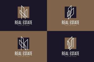 conjunto de logotipo de construcción o construcción inmobiliaria con estilo de línea en un concepto simple y minimalista vector