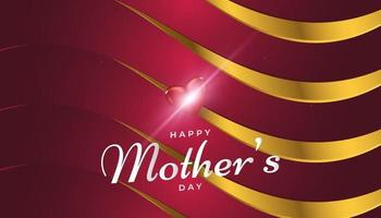 Mothers Day Greeting Card in Red and Gold with Paper Cut Style vector