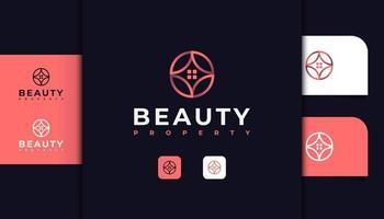logotipo abstracto de bienes raíces con concepto de flor en degradado rosa vector