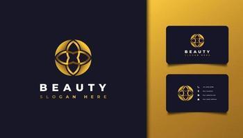 Logotipo de belleza abstracta con concepto de hoja o flor en degradado dorado vector