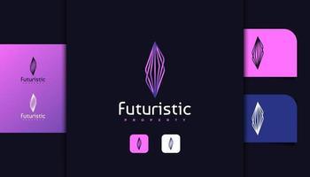 logotipo de bienes raíces futuristas con concepto lineal vector