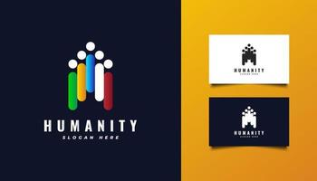 Humanity Logo with Illustrations of People in Various Colors vector