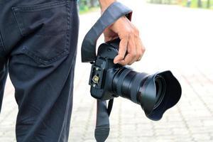 Professional photographer holding camera photo