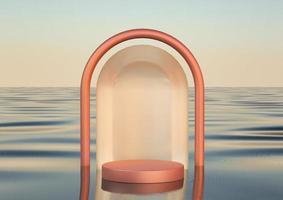 Podio redondo de lujo realista 3d sobre el agua foto