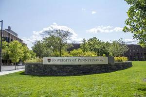 Filadelfia, Pensilvania, 13 de noviembre de 2016 - Signo de la Universidad de Pensilvania foto