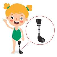 Funny Cartoon Character Using Prosthesis vector