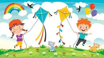 Kid Playing With A Colorful Kite vector