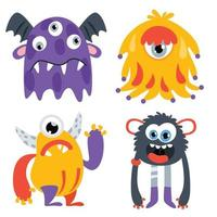 Set of funny cartoon monsters vector