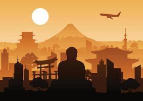 Japan landmark silhouette design vector